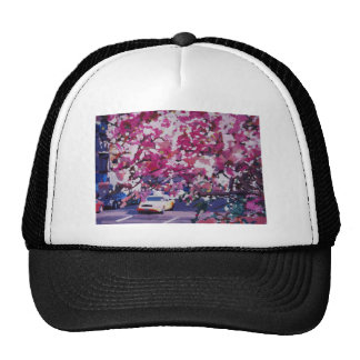 Cab And Flower Trees In New York City Mesh Hat
