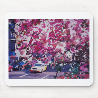 Cab And Flower Trees In New York City Mouse Pad
