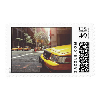 Cab Themed, Yellow Taxi Cab Back And Forth In New Stamp
