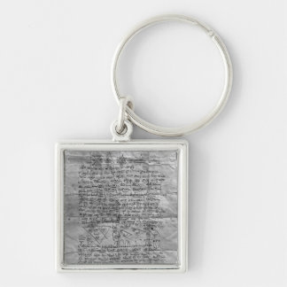 Cabalistic amulet Silver-Colored square keychain