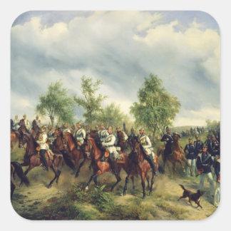 Caballería prusiana en la expedición pegatina cuadradas