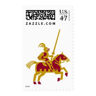 Caballero a caballo estampillas