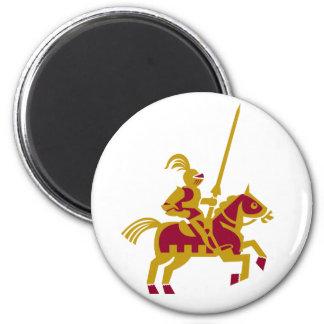 Caballero a caballo imán redondo 5 cm