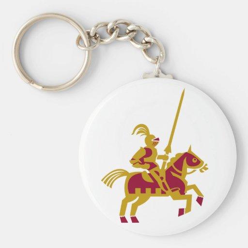 Caballero a caballo llavero redondo tipo pin