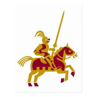 Caballero a caballo postal