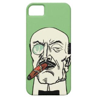 Caballero alemán del vintage con el cigarro y el funda para iPhone SE/5/5s