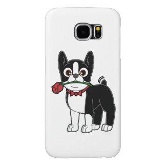 Caballero americano de Boston Terrier con el rosa Fundas Samsung Galaxy S6