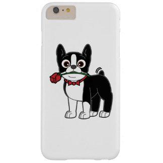 Caballero americano de Boston Terrier con el rosa Funda De iPhone 6 Plus Barely There