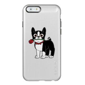 Caballero americano de Boston Terrier con el rosa Funda Para iPhone 6 Plus Incipio Feather Shine