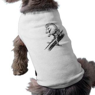 Caballero blanco playera sin mangas para perro