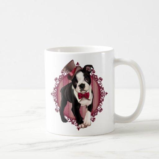 Caballero Boston Terrier Taza Básica Blanca
