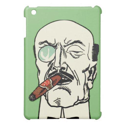 Caballero calvo del vintage con el cigarro y el mo