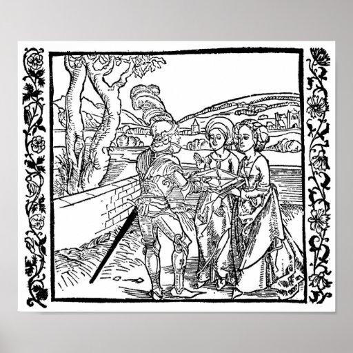 Caballero con dos damas de la Dürer Poster
