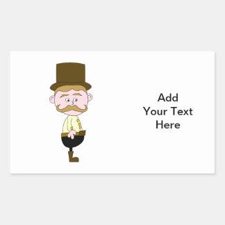 Caballero con el bigote y el sombrero superior pegatina rectangular