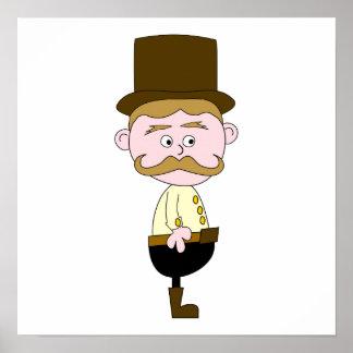 Caballero con el bigote y el sombrero superior póster