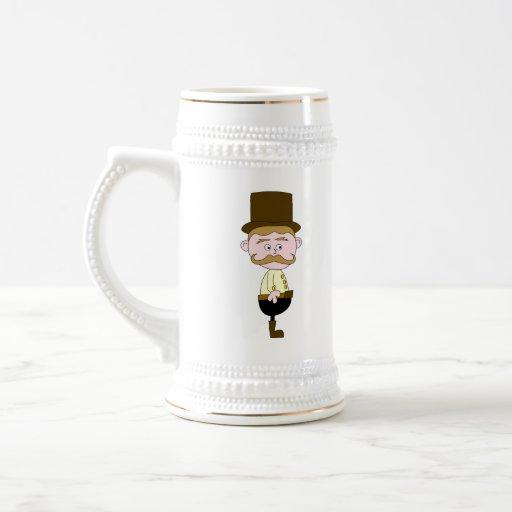 Caballero con el bigote y el sombrero superior taza de café