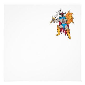 Caballero con el escudo y la espada invitacion personal