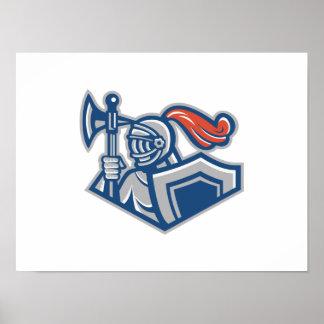 Caballero con el hacha y el escudo de la lanza posters