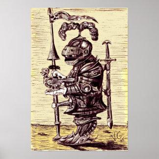 Caballero con el poster del arte de la paloma