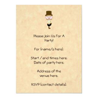 Caballero con el sombrero de copa y el bigote. invitación 16,5 x 22,2 cm