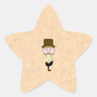 Caballero con el sombrero de copa y el bigote. pegatina en forma de estrella