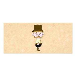 Caballero con el sombrero de copa y el bigote tarjeta publicitaria a todo color