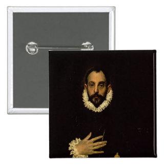 Caballero con su mano en su pecho, c.1580 pin cuadrada 5 cm