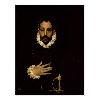 Caballero con su mano en su pecho c 1580 postal