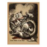 Caballero contra dragón postal