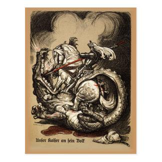 Caballero contra dragón tarjetas postales