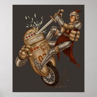 Caballero CONTRA la impresión del robot Poster