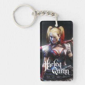 Caballero de Batman Arkham el | Harley Quinn con Llavero Rectangular Acrílico A Doble Cara
