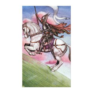 Caballero de plata con un caballo mágico impresion de lienzo