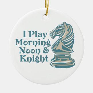 Caballero del ajedrez adorno redondo de cerámica