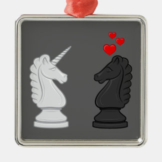 Caballero del ajedrez del unicornio ornamento para reyes magos