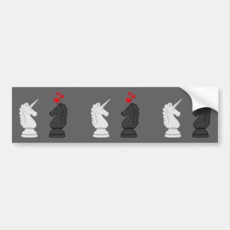 Caballero del ajedrez del unicornio pegatina para auto
