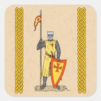 Caballero del cruzado, comienzo del siglo XIII, Pegatina Cuadrada