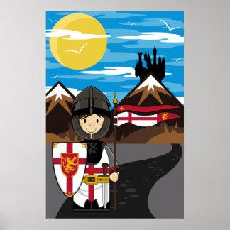 Caballero del cruzado con el poster de la bandera