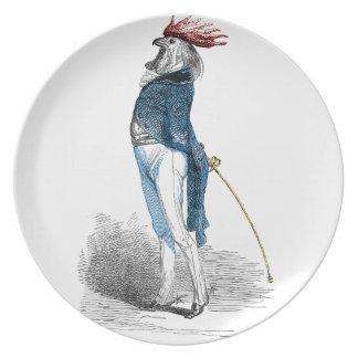Caballero del gallo platos para fiestas
