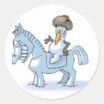 Caballero del muñeco de nieve pegatina redonda