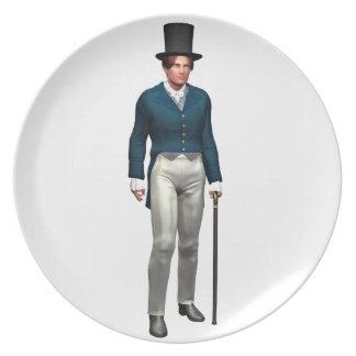 Caballero del Victorian en una capa azul Platos