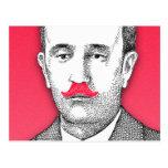 Caballero del vintage con el bigote rosado diverti postal