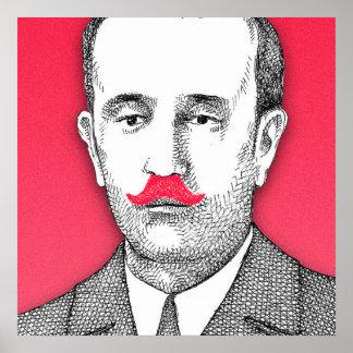 Caballero del vintage con el bigote rosado póster