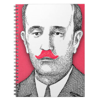 Caballero del vintage con el bigote rosado spiral notebook