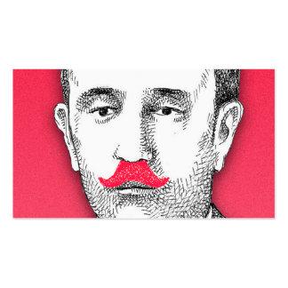 Caballero del vintage con el bigote rosado tarjetas de visita