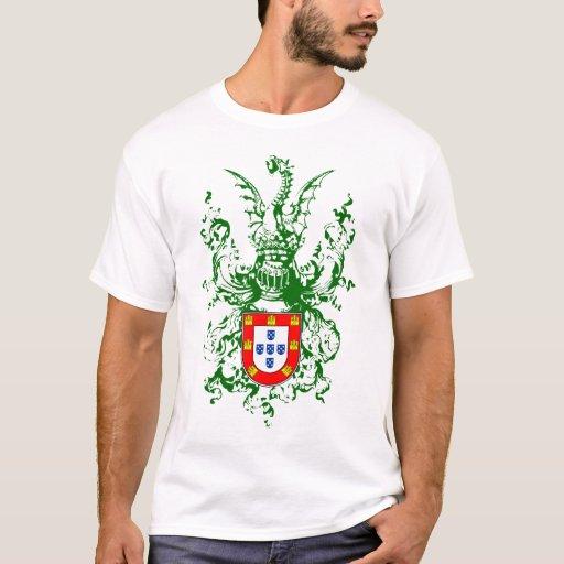 Caballero, dragón y escudo de armas portugués playera