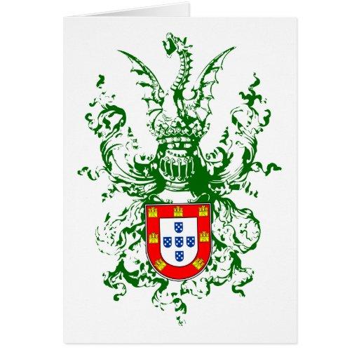 Caballero, dragón y escudo de armas portugués tarjeton