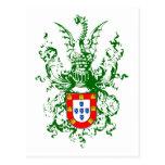Caballero, dragón y escudo de armas portugués postal