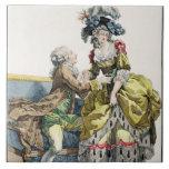 Caballero elegante que propone a una señora en un  azulejo cuadrado grande