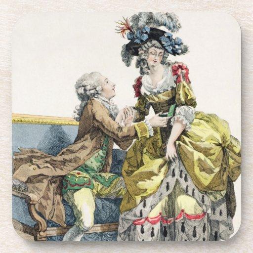 Caballero elegante que propone a una señora en un  posavaso